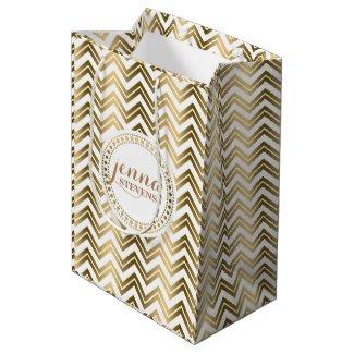 Monogramed Gold And White Zigzag Chevron Medium Gift Bag