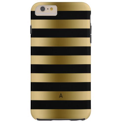 Monogramed Gold & Black Stripes Geometric Pattern Tough iPhone 6 Plus Case