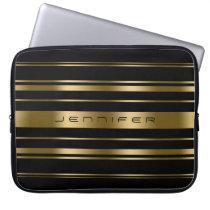 Monogramed Gold & Black Stripes Pattern Computer Sleeve