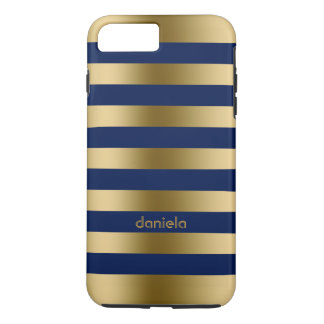 Monogramed Gold & Blue Stripes Geometric Pattern iPhone 8 Plus/7 Plus Case