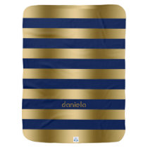 Monogramed Gold & Blue Stripes Geometric Pattern Receiving Blanket