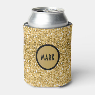 Monogramed Gold Glitter Pattern Can Cooler