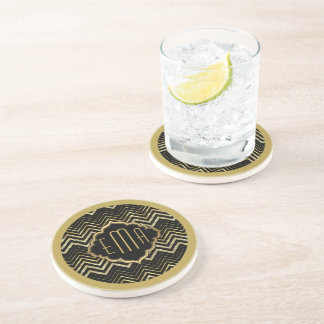 Monogramed Gold Glitter & Zigzag Chevron Pattern Beverage Coasters