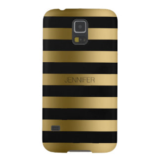 Monogramed Gold Stripes Black Background Case For Galaxy S5