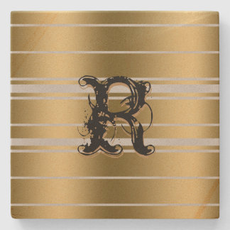 Monogramed Gold Stripes Custom Background Stone Coaster