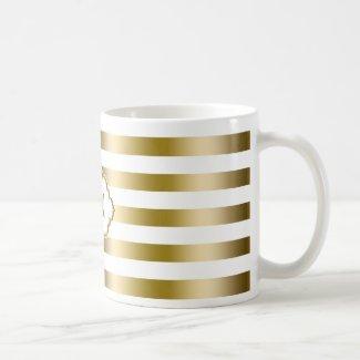 Monogramed Gold Stripes Geometric Pattern 2 Classic White Coffee Mug