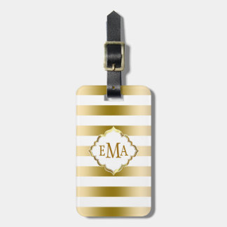 Monogramed Gold Stripes Geometric Pattern Bag Tag
