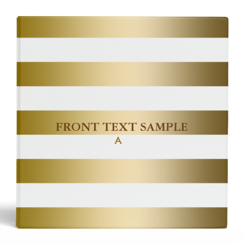 Monogramed Gold Stripes Geometric Pattern 3 Ring Binders
