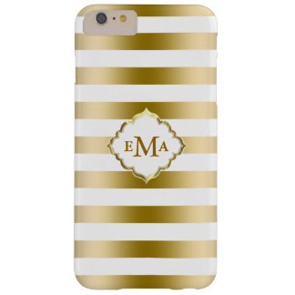 Monogramed Gold Stripes Geometric Pattern Barely There iPhone 6 Plus Case