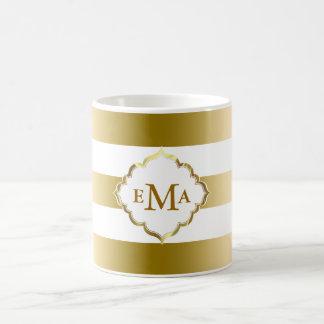 Monogramed Gold Stripes Geometric Pattern Coffee Mug