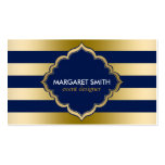 Monogramed Gold Stripes Geometric Pattern Double-Sided Standard Business Cards (Pack Of 100)