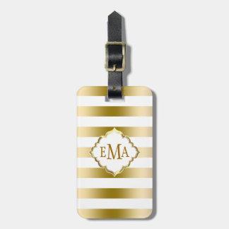 Monogramed Gold Stripes Geometric Pattern Bag Tag