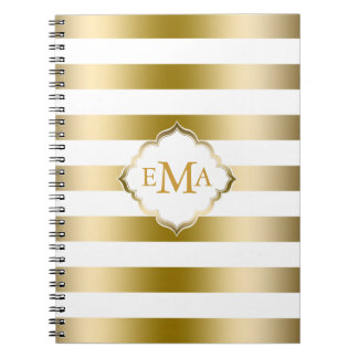 Monogramed Gold Stripes Geometric Pattern Notebook