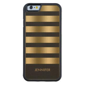 Monogramed Gold Stripes Over Black Background Carved® Maple iPhone 6 Bumper Case