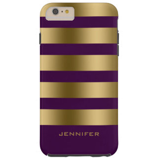 Monogramed Gold Stripes Over Purple Background iPhone 6 Plus Case