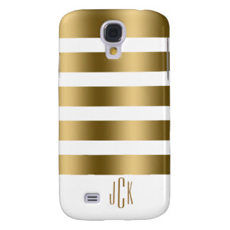 Monogramed Gold Stripes Over White Background Galaxy S4 Cases