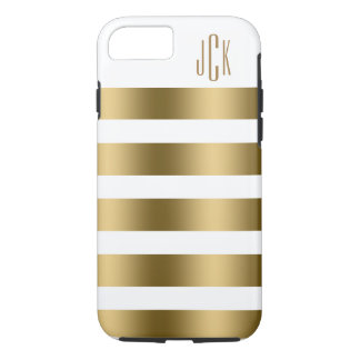Monogramed Gold Stripes Over White Background iPhone 7 Case
