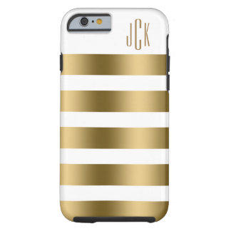 Monogramed Gold Stripes Over White Background Tough iPhone 6 Case