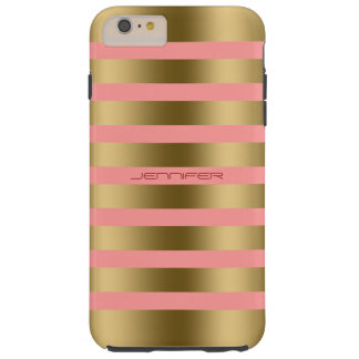 Monogramed Gold Stripes Pink Background Tough iPhone 6 Plus Case