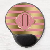Monogramed Gold Stripes & Pink Geometric Pattern Gel Mouse Pad