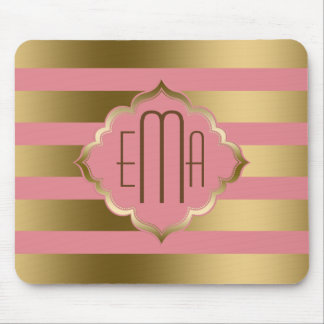 Monogramed Gold Stripes & Pink Geometric Pattern Mouse Pad