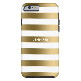 Monogramed Gold Stripes White Background Tough iPhone 6 Case