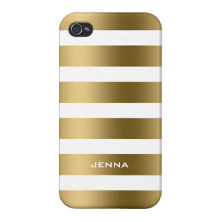 Monogramed Gold Stripes White Background iPhone 4 Cover