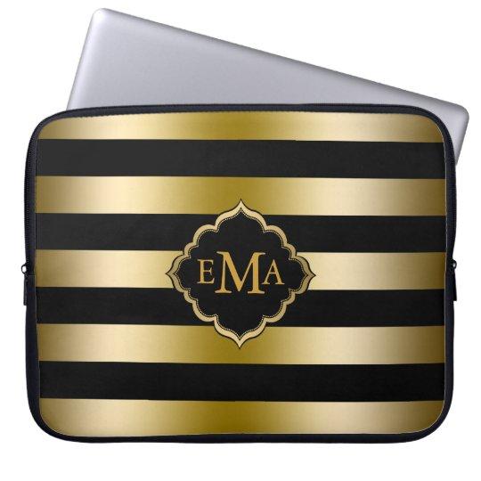 Monogramed Gold Tones & Black Stripes Pattern Computer Sleeve