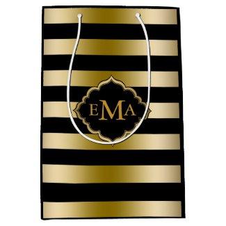 Monogramed Gold Tones & Black Stripes Pattern Medium Gift Bag