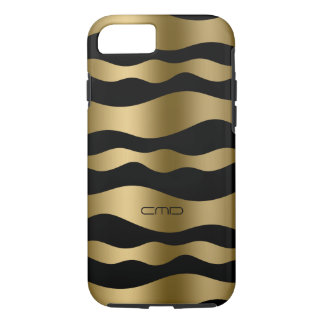 Monogramed Gold Wavy Stripes Over Black Background iPhone 7 Case