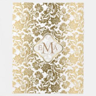 Monogramed Gold & White Floral Damask Fleece Blanket