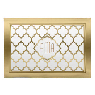 Monogramed Gold & White Quatrefoil Pattern Placemat