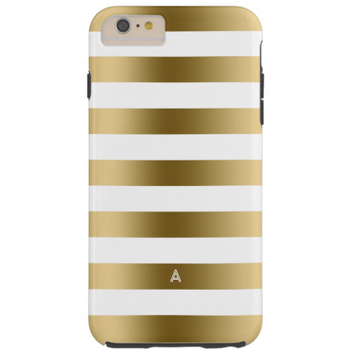 Monogramed Gold & White Stripes Geometric Pattern Tough iPhone 6 Plus Case