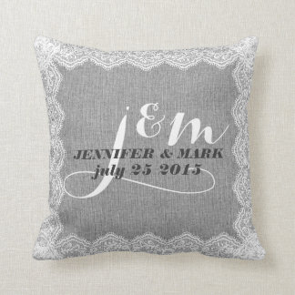 Monogramed Gray Linen & White Lace Wedding Pillow Throw Pillows
