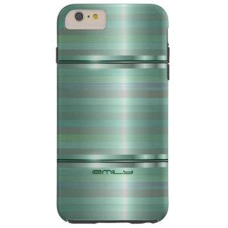 Monogramed Green Metallic Stripes Pattern Tough iPhone 6 Plus Case