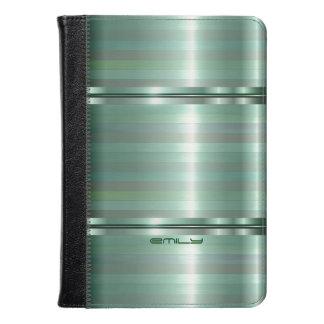 Monogramed Green Metallic Stripes Pattern Kindle Case