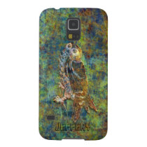 Monogramed Grunge Brown Tones Owl Drawing Case For Galaxy S5