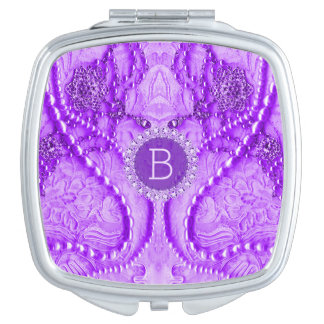 Monogramed Lavender Purple Girly Lace And Purls Mirror For Makeup