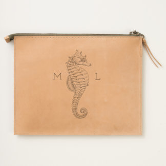 Monogramed Leather Pouch with Seahorse
