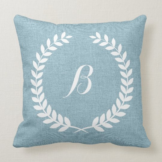 Monogramed Light Blue Linen And White Wreath Throw Pillow Zazzle