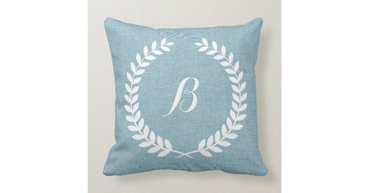 Light Blue And Gold Throw Pillows : Monogramed Light Blue Linen And White Wreath Throw Pillow Zazzle