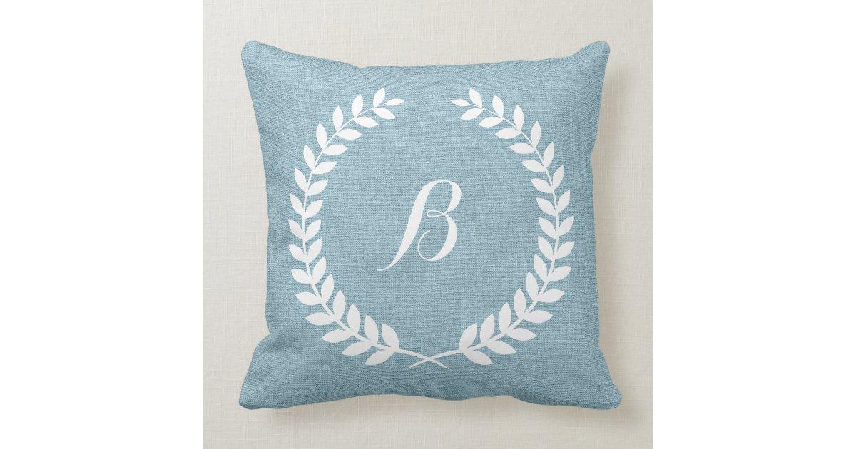 Throw Pillow Light Blue : Monogramed Light Blue Linen And White Wreath Throw Pillow Zazzle