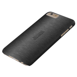 Monogramed Metallic Black Brushed Aluminum Look Barely There iPhone 6 Plus Case