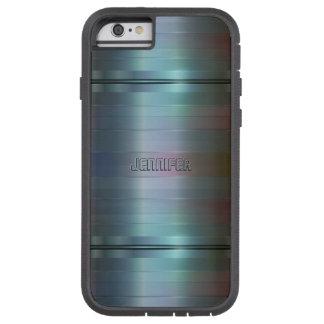 Monogramed Metallic Blue-Gray Stripes Pattern Tough Xtreme iPhone 6 Case