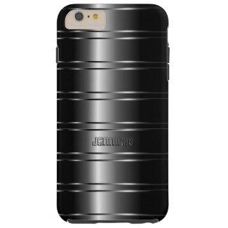 Monogramed Metallic Dark Gray Stripes Pattern Tough iPhone 6 Plus Case