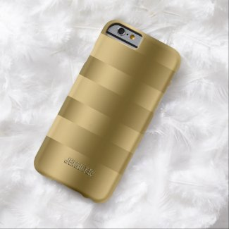 Monogramed Metallic Gold Stripes Pattern Barely There iPhone 6 Case