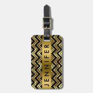 Monogramed Metallic Gold Zigzag Chevron Pattern Luggage Tag