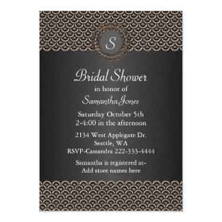 Monogramed Metallic Look Bridal Shower Invitation