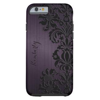 Monogramed Metallic Purple Black Lace Accents Tough iPhone 6 Case