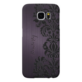 Monogramed Metallic Purple Black Lace Accents Samsung Galaxy S6 Cases